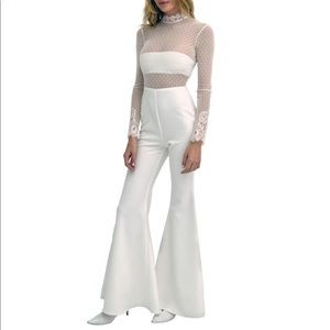 Second Skin Overalls White Lace Jumpsuit